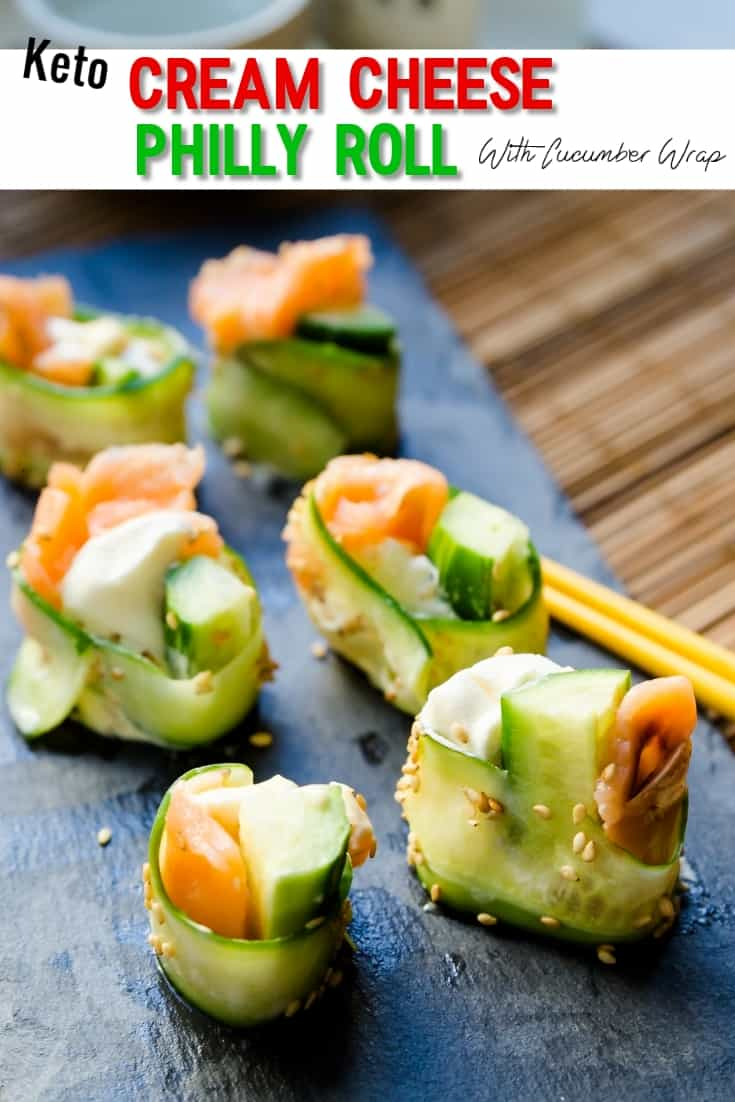 keto Cream Cheese Philly Roll with Cucumber Wraps pin 2