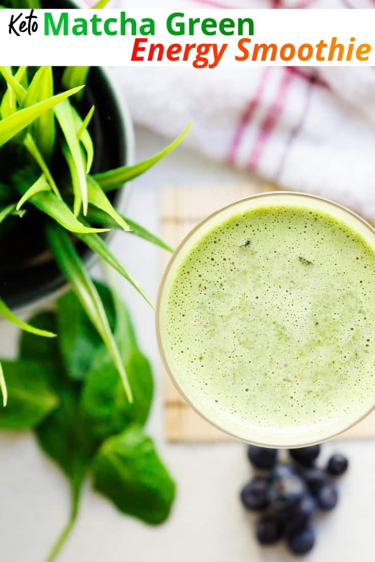 keto Matcha Green Energy Smoothie pin 1