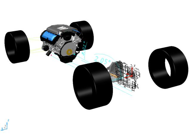 Engine gearbox layout