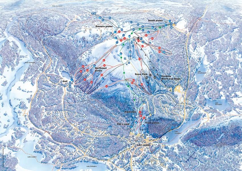 Карта лижних маршрутів на курорті Леві
