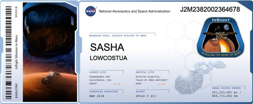 Приклад посадкового талону на Марс