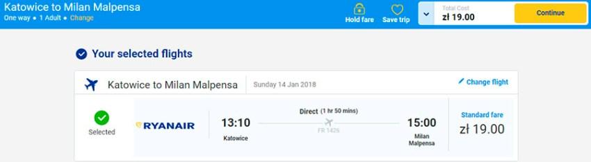Бронювання авіаподорожі Катовіце - Мілан за 4.5€ (19 zl)