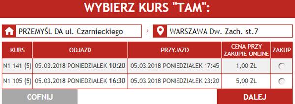 Приклад бронювання поїздки Перемишль - Варшава
