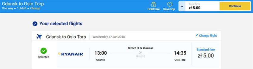 Переліт Гданськ - Осло за 1.2€ (5zl)