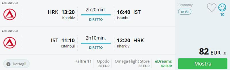 Приклад бронювання Харків - Стамбул - Харків