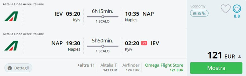 Приклад бронювання Київ - Неаполь - Київ на сайті Momondo.it