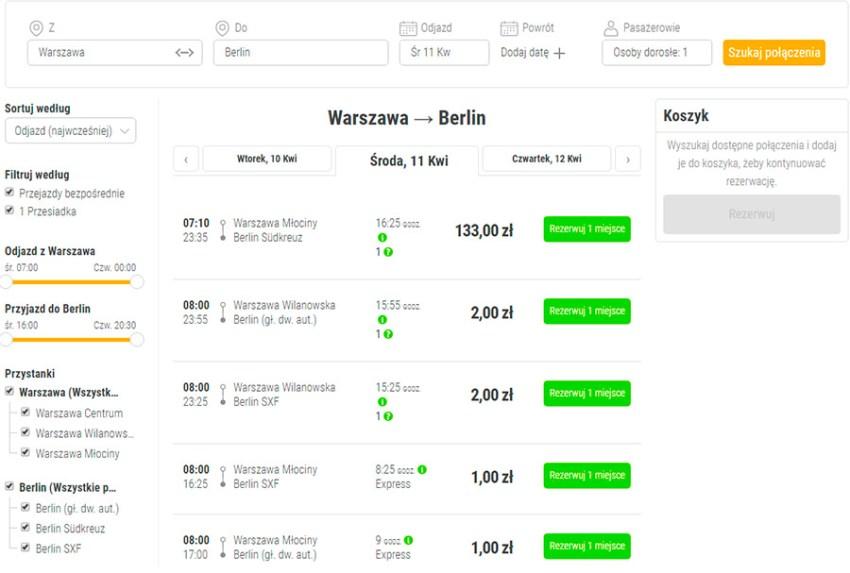 Приклад бронювання квитків Варшава - Берлін на сайті FlixBus