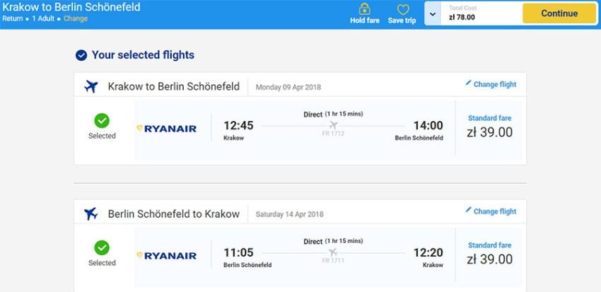Бронювання авіаквитків Краків - Берлін - Краків на сайті Ryanair: