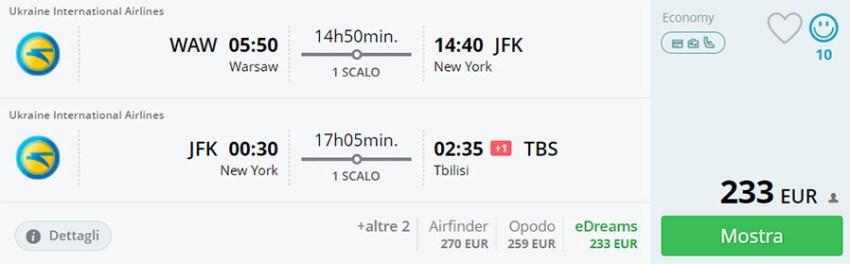 Бронювання авіаквитків Варшава - Нью-Йорк - КИЇВ - Тбілісі на сайті Momondo.it