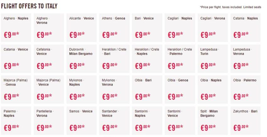 Дешеві авіаквитки Volotea в Італію