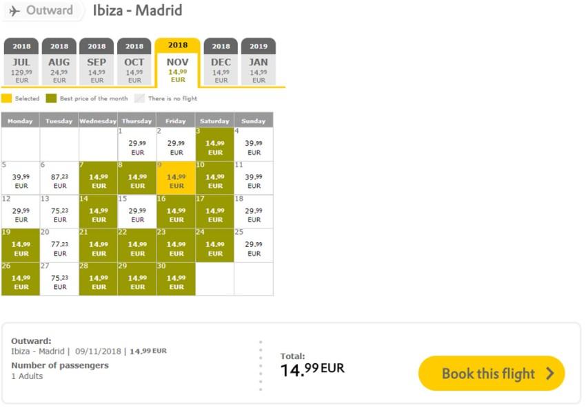 Календар дешевих авіаквитків Ібіца - Мадрид: