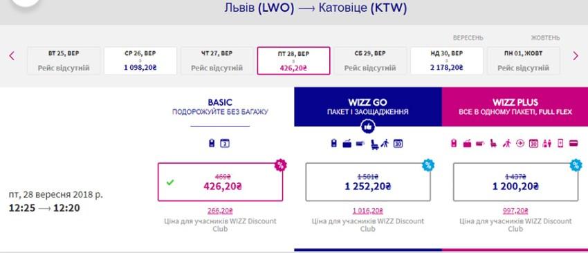 Авіаквитки Львів - Катовіце зі знижкою 20% на сайті Wizz Air