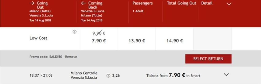 Квитки на швидкісний потяг Мілан - Венція зі знижкою:
