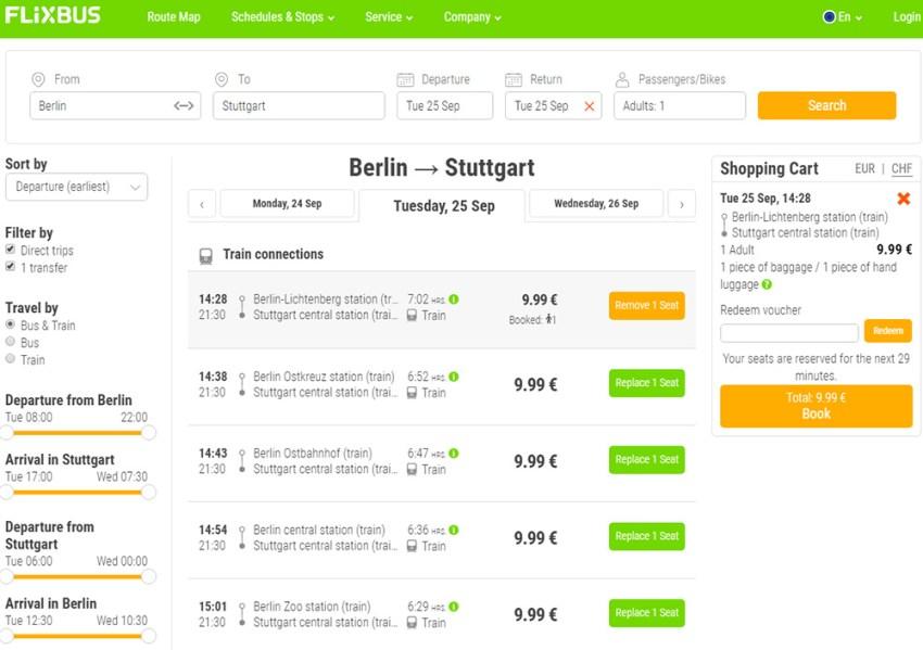 Приклад бронювання квитків на потяг Берлін - Штутгарт: