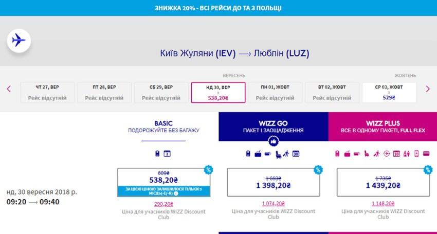 Авіаквитки Київ - Люблін зі знижкою 20%