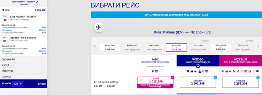 Серпневий переліт Кииїв - Лісабон - Київ: