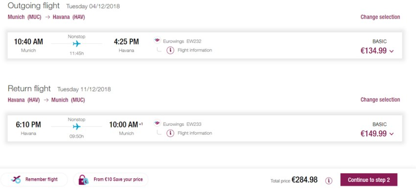 """Авіаквитки """"туди-назад"""" із Мюнхена в Гавану на сайті Eurowings"""