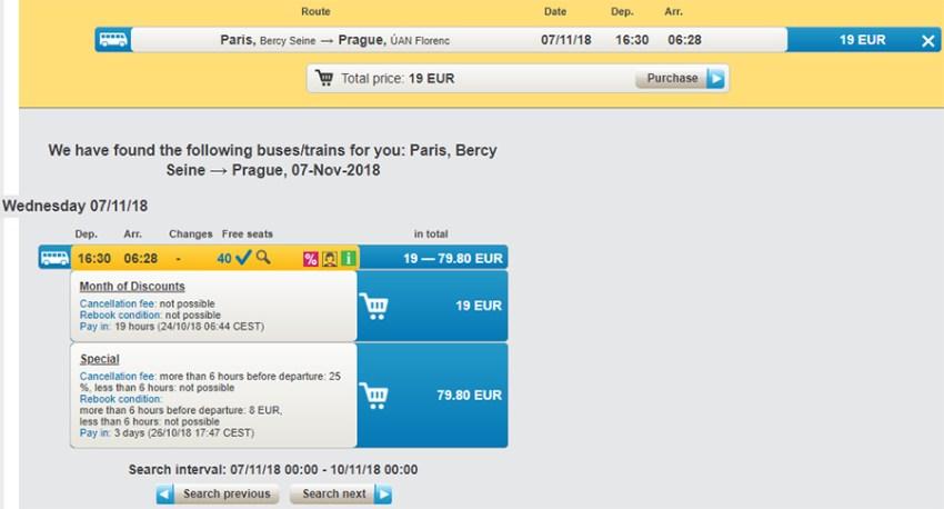 Приклад бронювання квитків на автобус Прага - Париж