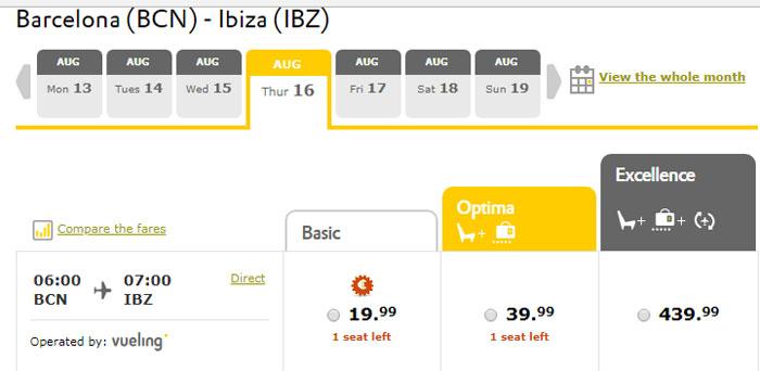 Приклад бронювання квитків Барселона - Ібіца