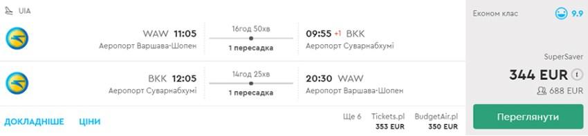 Бронювання авіаквитків Варшава - Бангкок - КИЇВ - Краків на сайті Momondo.ua
