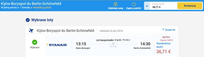 Бронювання авіаквитків Київ - Берлін на сайті Ryanair зі знижкою