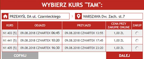 Бронювання автобусних квитків Перемишль - Варшава