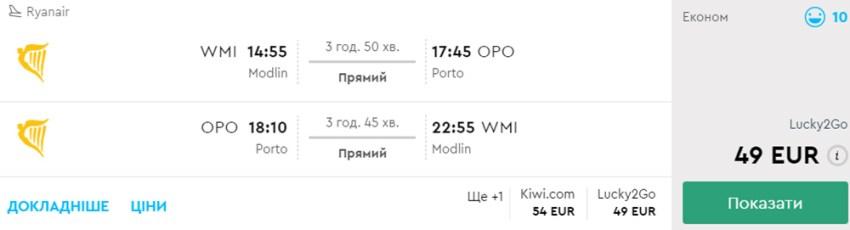 Авіаквитки Варшава - Порту - Варшава на сайті Momondo: