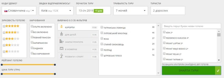 Пошук дешевих пакетних турів в Словачинну