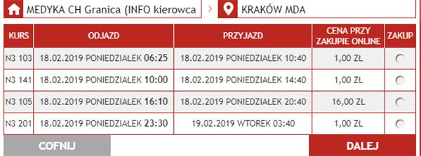 Приклад бронювання автобусних квитків Медика - Краків