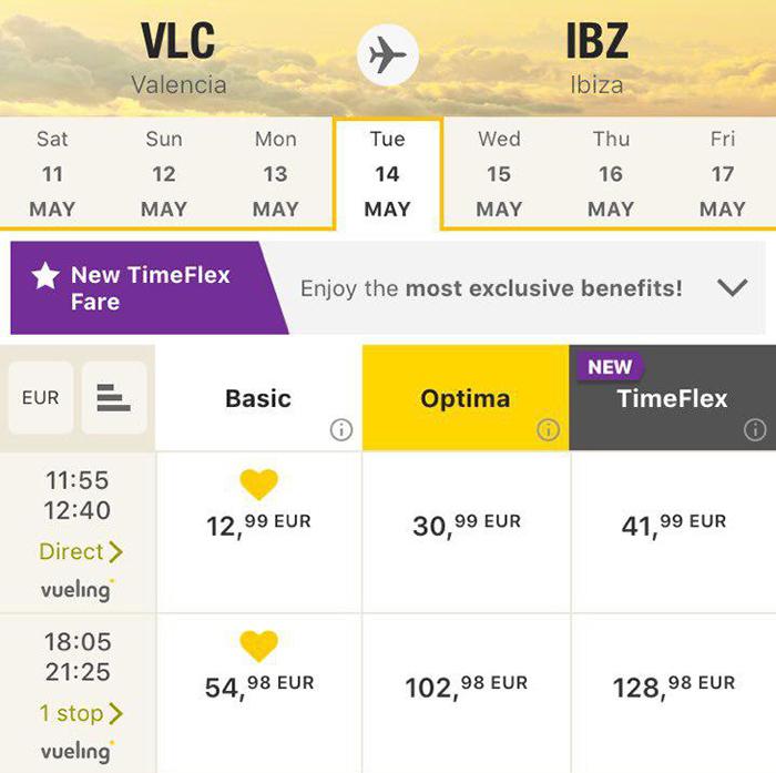 Квитки Валенсія - Ібіца в мобільному додатку Vueling