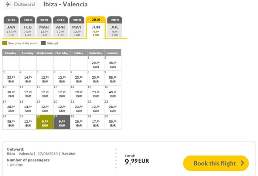 Авіаквитки Ібіца - Валенсія на сайті Vueling