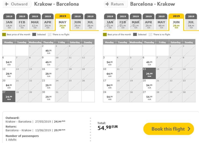 Авіаквитки Краків - Барселона - Краків