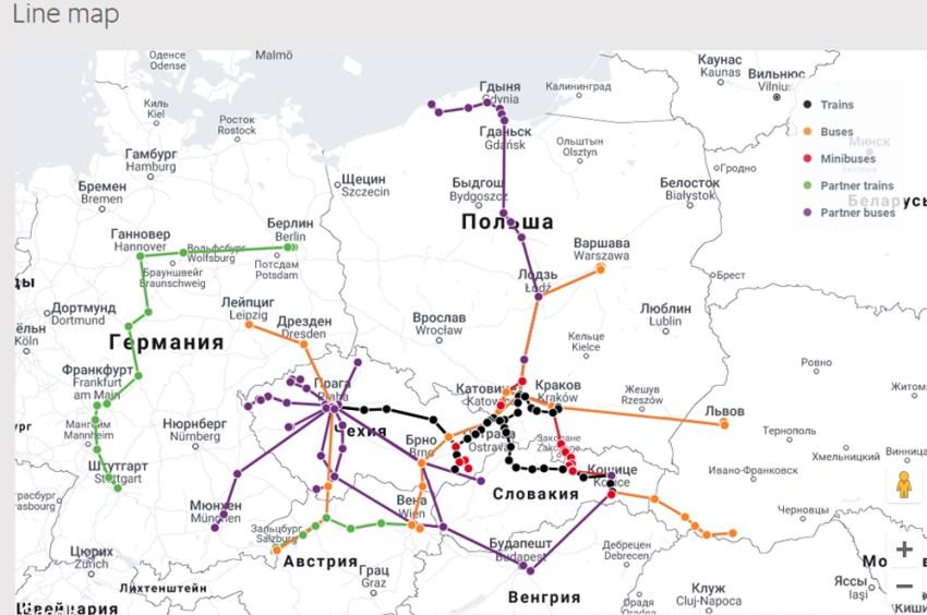 Карта маршрутів LeoExpress