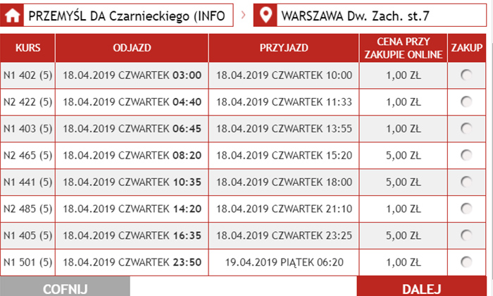 Дешеві квитки на автобус з Перемишля у Варшаву