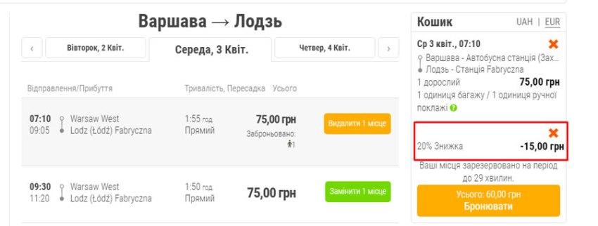 Варшава - Лодзь, приклад застосування промокоду