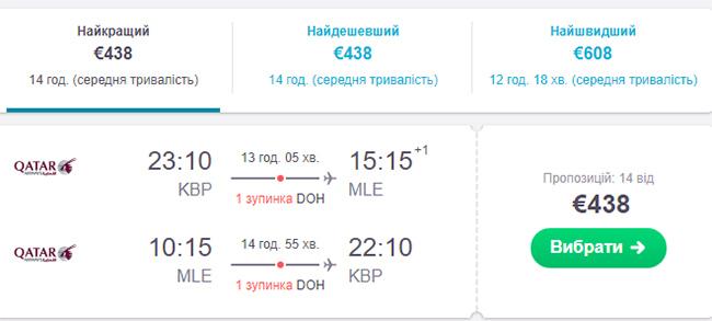Приклад бронювання авіаквитків Київ - Мальдіви - Київ на сайті SkyScanner