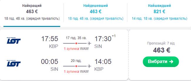 Київ - Сінгапур - Київ від €463