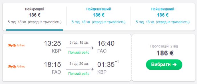 Авіаквитки Київ - Фару - Київ на сайті SkyScanner
