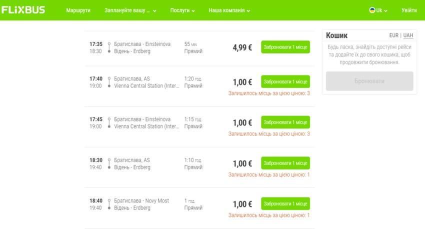 Квитки на автобус з Братислави у Відень на на сайті FlixBus
