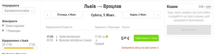 Акційні квитки Львів - Вроцлав