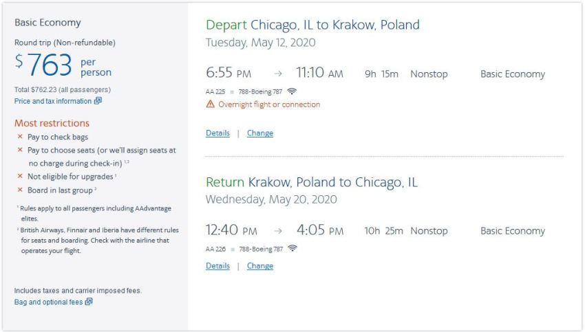 booking chicago krakow