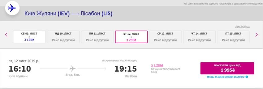 Знижка €10 для клубу WDC на дорогий рейс Київ - Лісабон