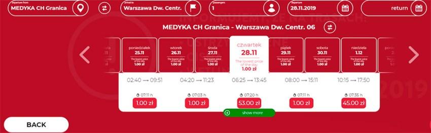 Автобусні квитки Медика - Варшава на листопад