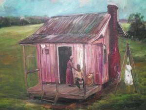 Texas Slave Cabins Artwork by Ted Ellis