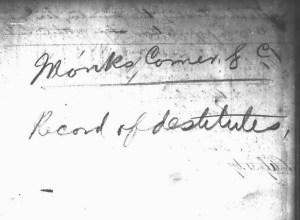 Cover Register of Destitutes Moncks Corner