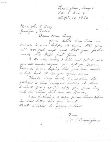 Letter, J.F. Cunningham to Dessie Cunningham Gray, 1952