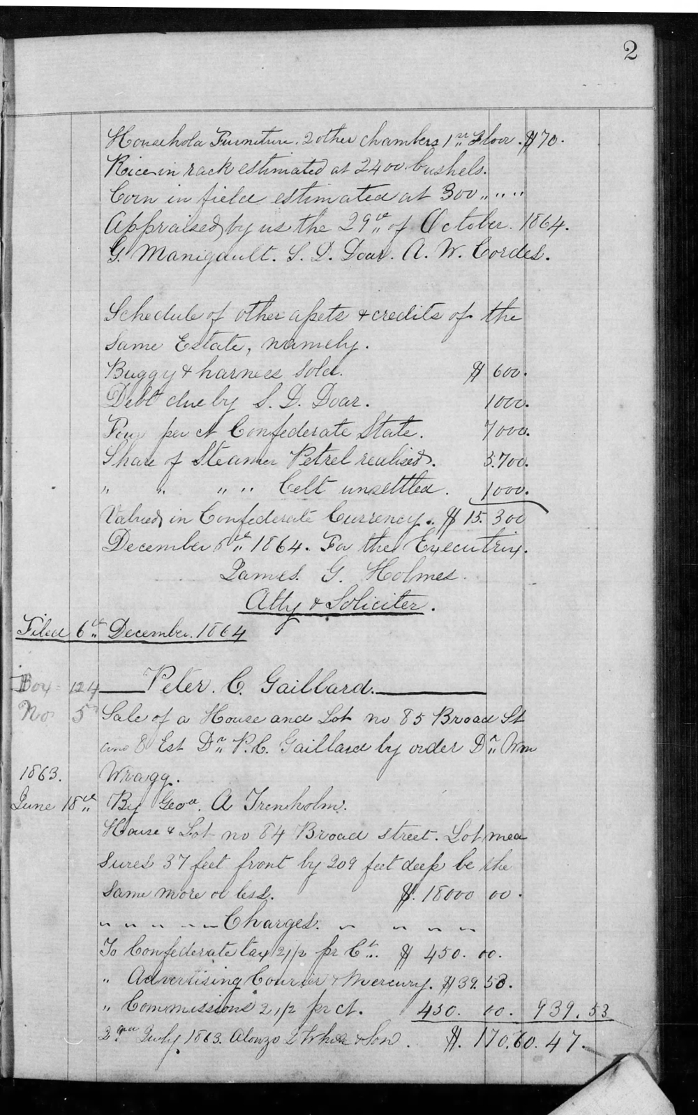 Gadsden Alex Est Inv Palo Alto Plantation Book G (1864-67) P2