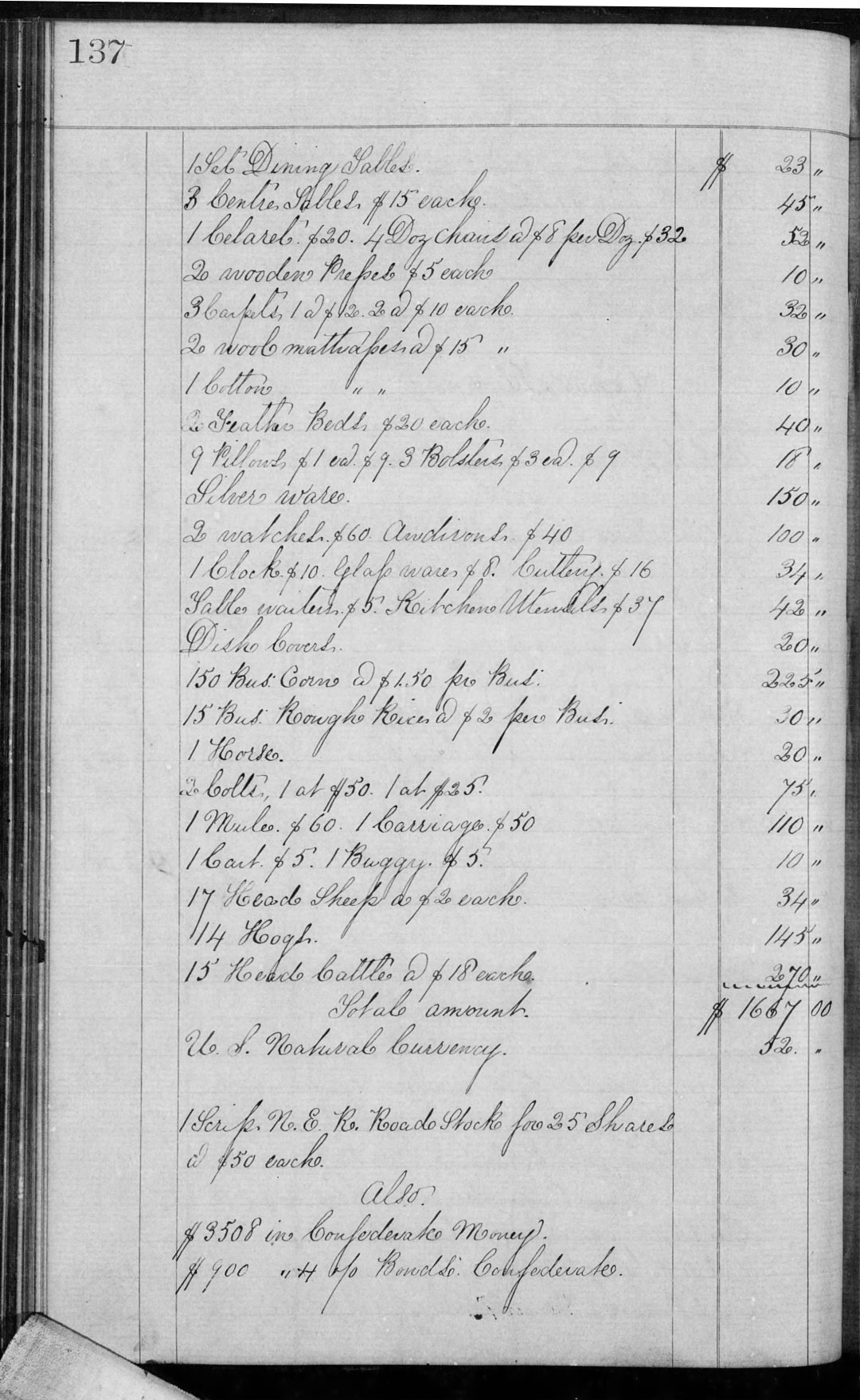Porcher John P Est Inv Book G (1864-67) p137