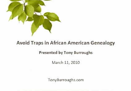 Avoid Traps in African American Genealogy