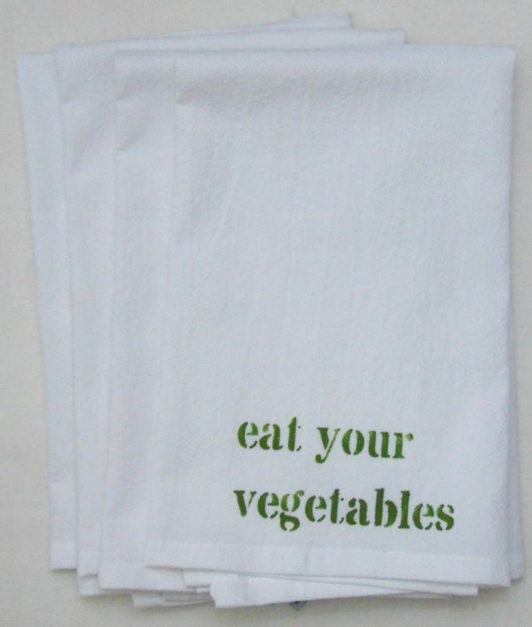eat vegetables napkin